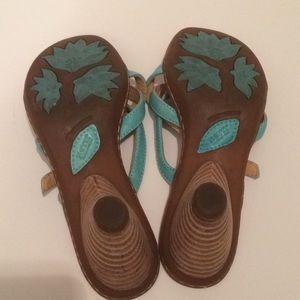 Born Shoes - $14 born leather sandals aqua straps euc